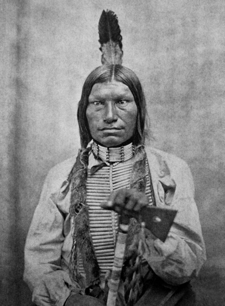 ca. 1870s-1880s, USA --- Low Dog was one of the fighting chiefs of the Sioux at the Battle of Little Big Horn. --- Image by © CORBIS