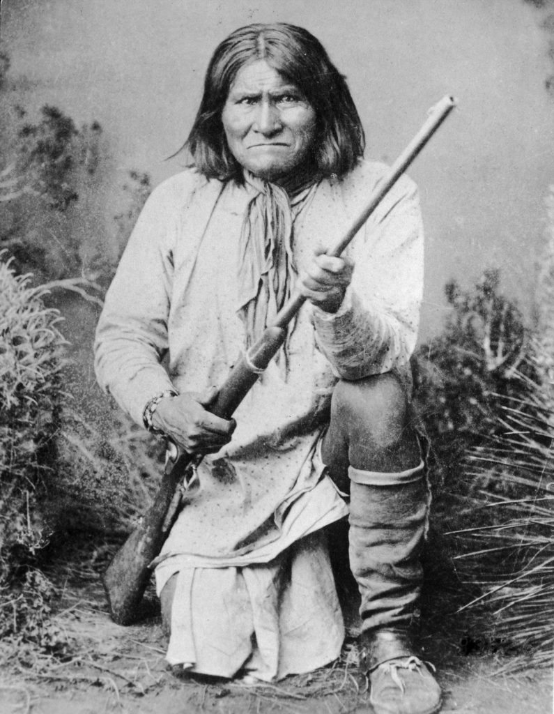 circa 1905: Geronimo (c. 1829-1909). Leader of the Chiricahua Apache tribe in Arizona. After the Chiricahua Reservation was abolished in1876, he repeatedly led raids against white settlers, was captured and escaped. He surrendered in 1886 and was deported with his followers as prisoners of war to Florida and later to Fort Sill, Oklahoma. He later became a Christian and a prosperous farmer. (Photo by Hulton Archive/Getty Images)
